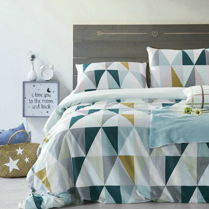 Geometric Patterns Bedding in a large plain bedroom