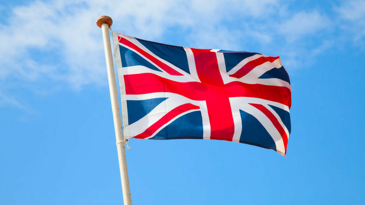 St. George's Day United Kingdom Union Jack Flag blowing in the wind