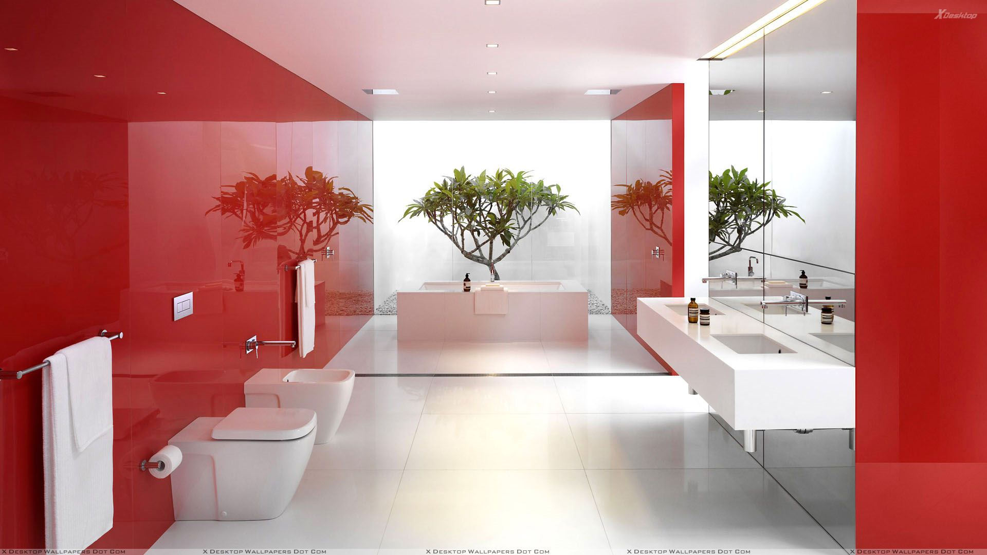 St. George's Day red and white England stylish and sophisticated large bathroom
