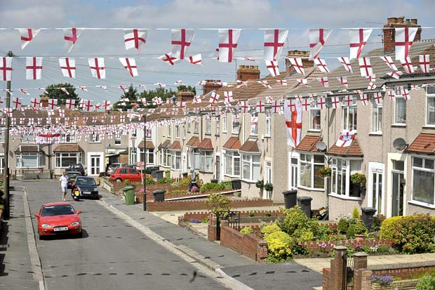 England street celebration for St. George's Day with bunting hung up high