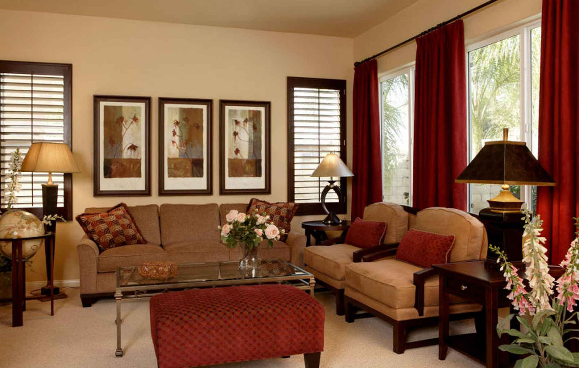 St. George's Day large living room interior with a red and brown colour scheme