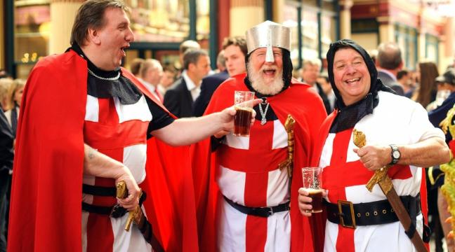 3 old men dressed up as English knights