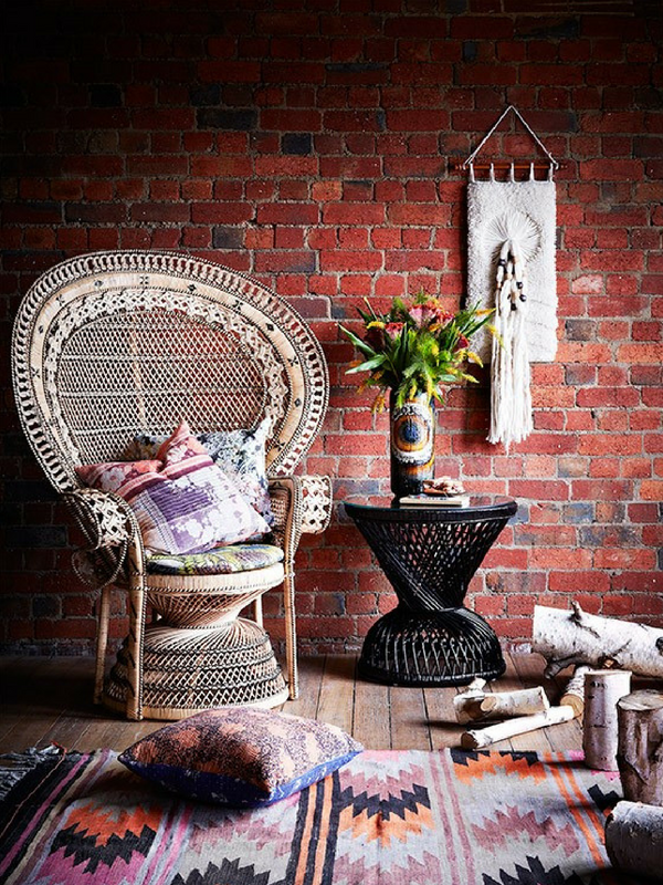 Wicker Furniture 1970s style interior decor