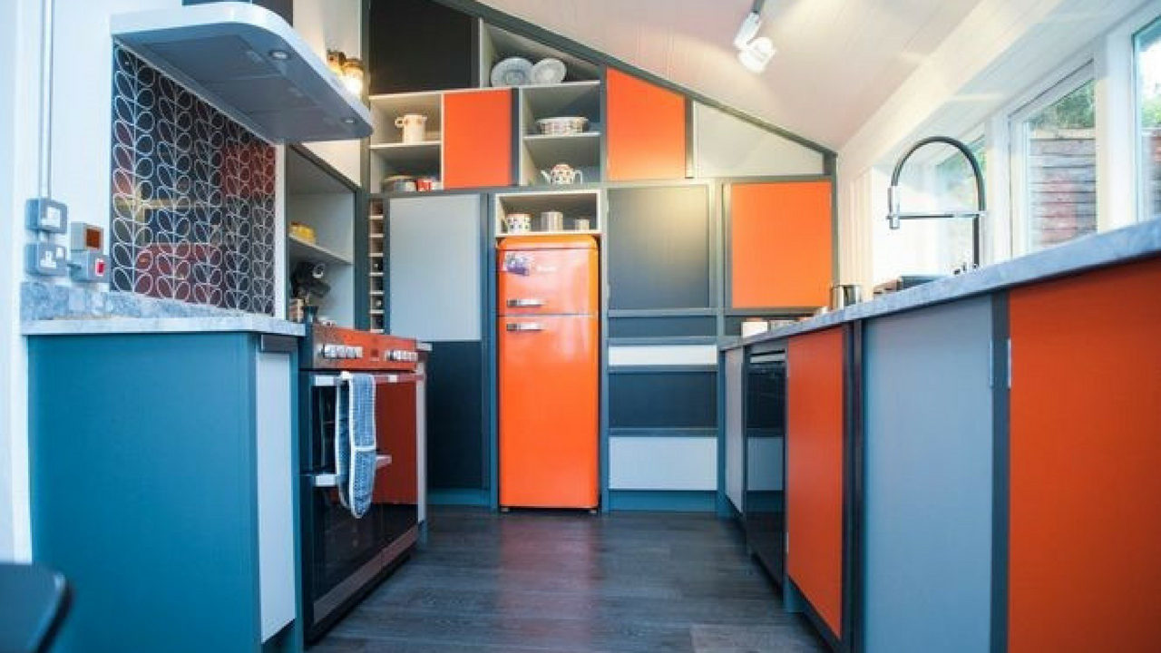 Orange and Blue 1970s Inspired Kitchen