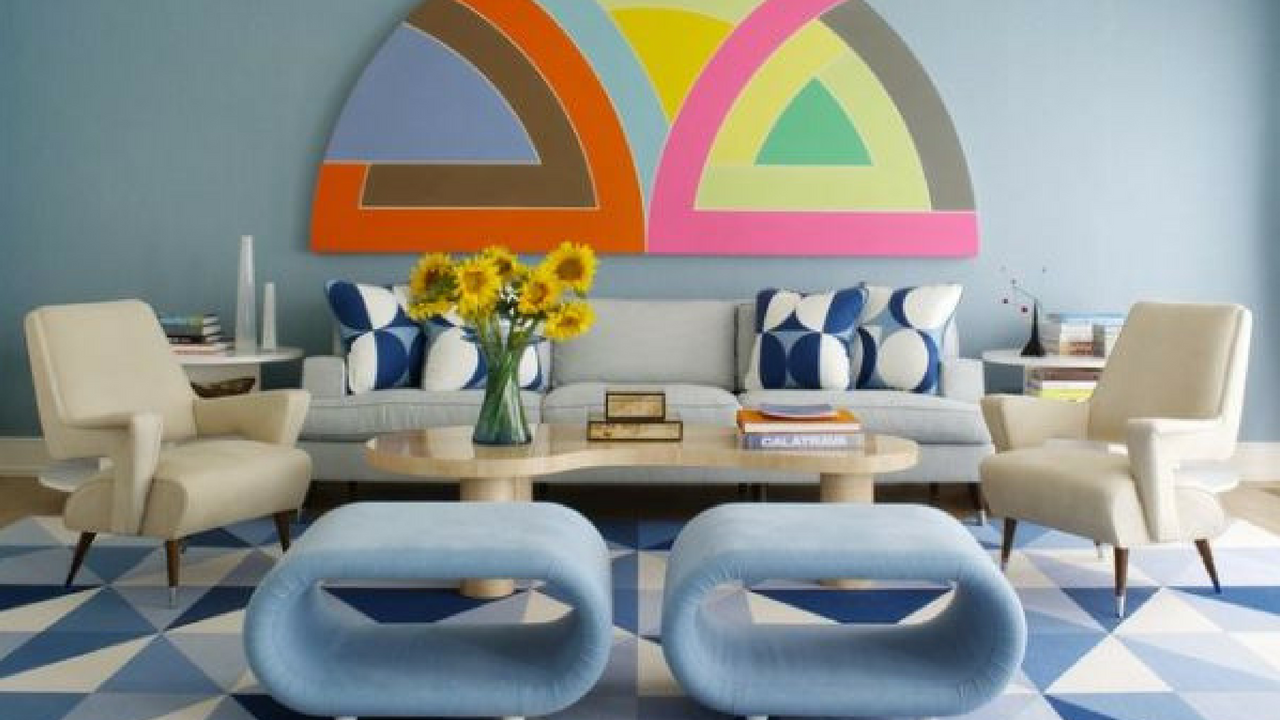 Blue 1970s themed living room