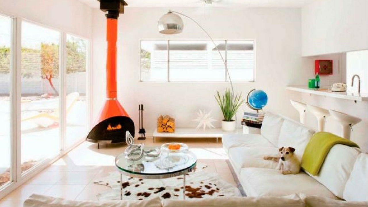 1970s Orange fireplace in an open space living room