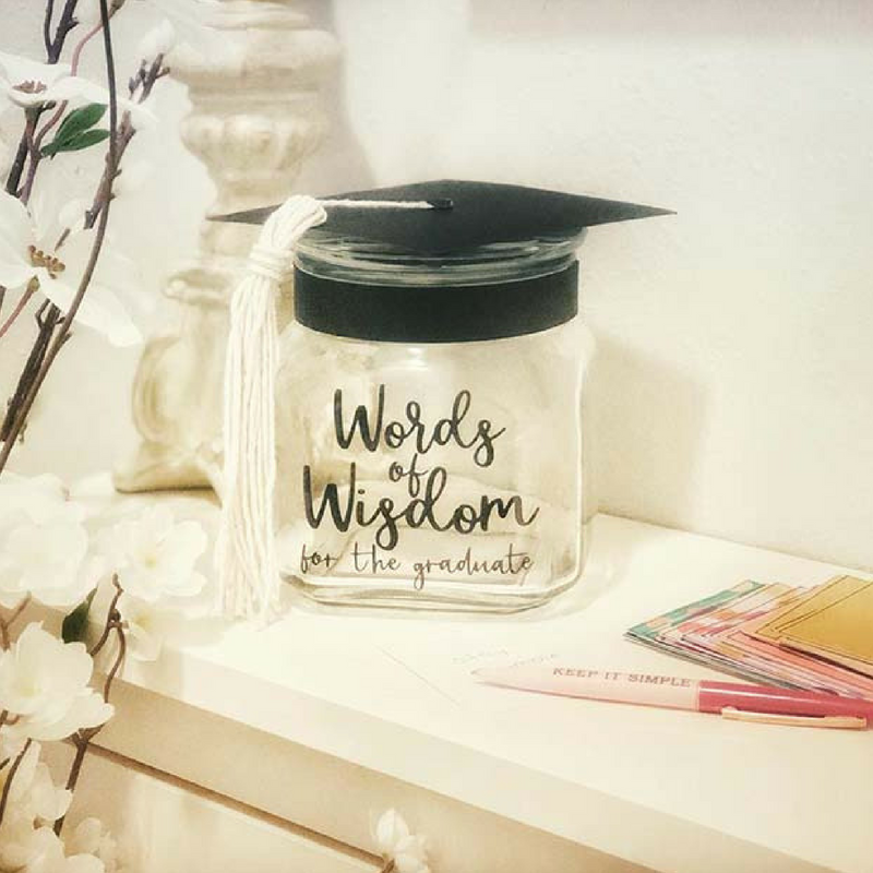 Graduation Words of Wisdom Jar for Messages and Notes