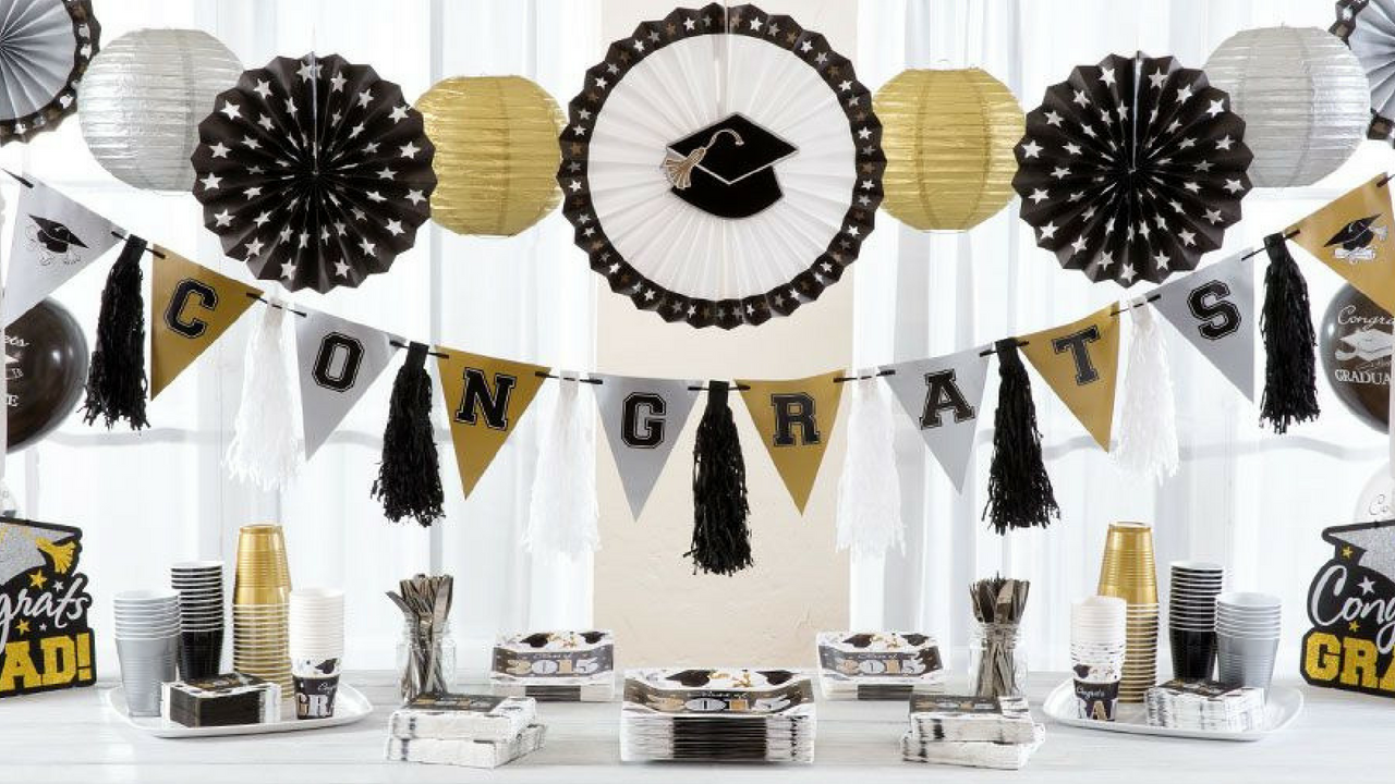 Graduation Themed Decorations in a Large Room