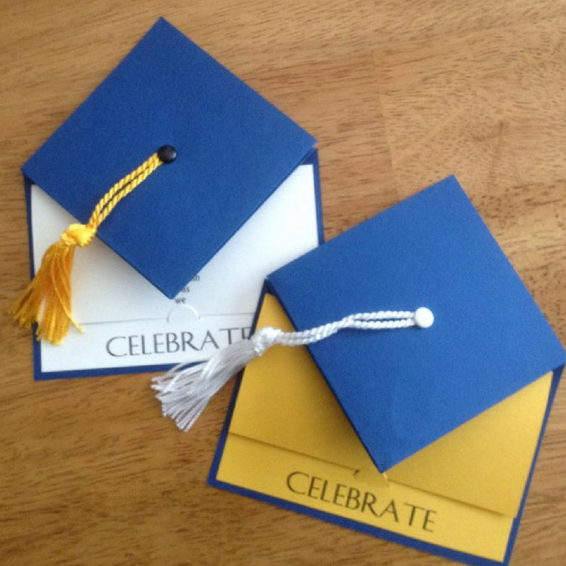 Graduation Blue Cap Shaped Party Invitations