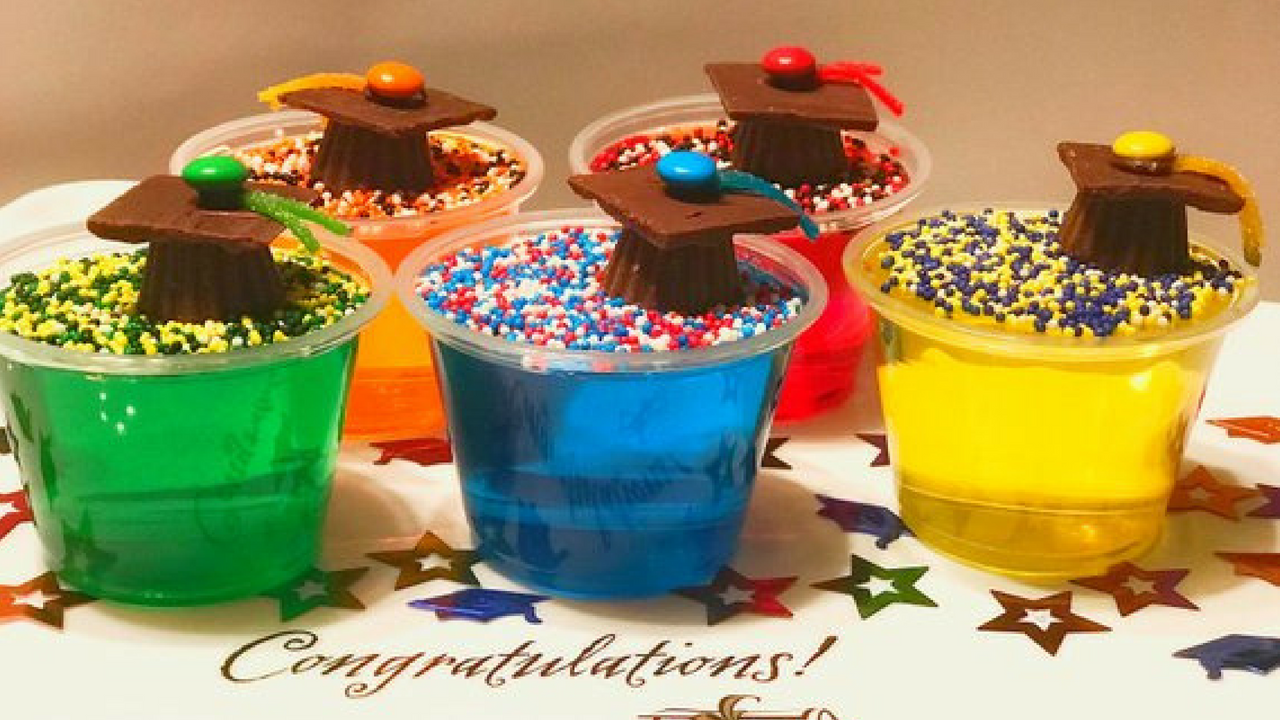 Graduation Multicoloured Jelly Shots with Chocolate Grad Caps