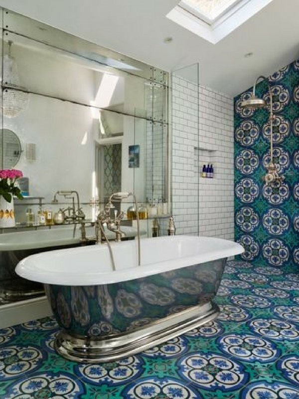 Moroccan Interiors Large Blue Moroccan Decorated Bathroom