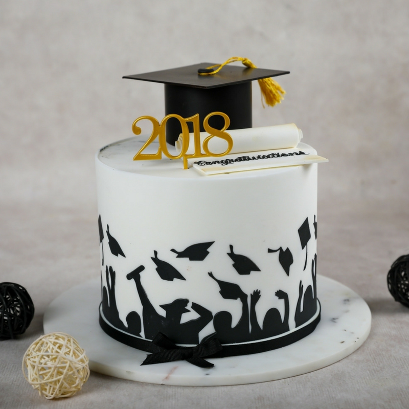 Graduation Themed Black and Gold Sponge Cake