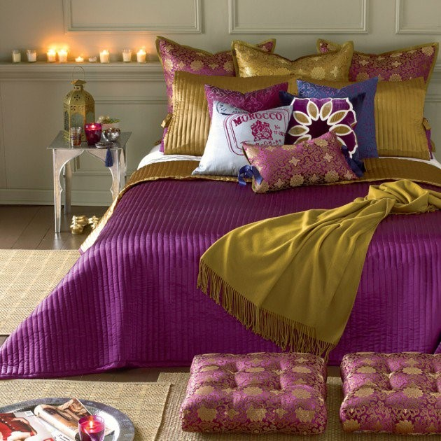 Moroccan Interiors Purple and Mustard Coloured Bedding