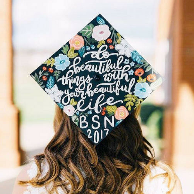 Graduation Personalised Cap with Flowers and Quotes on it