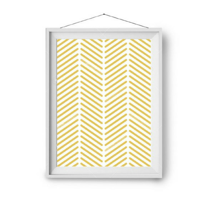 Yellow Accessories Geometric Design Wall Art