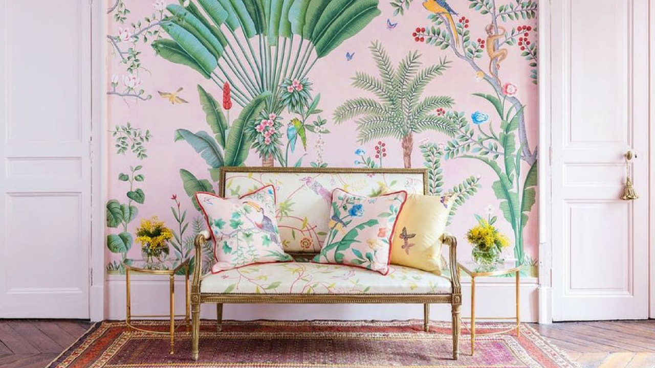 Interior Design Trends tropical print wallpaper
