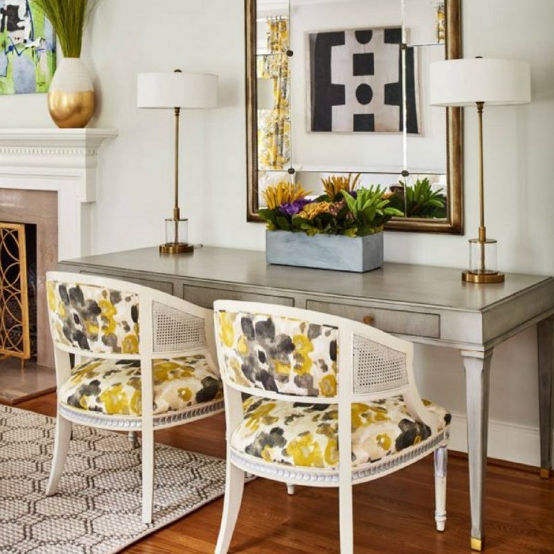 Yellow Accessories of Lovely Yellow Floral Chairs in a Vanity Room