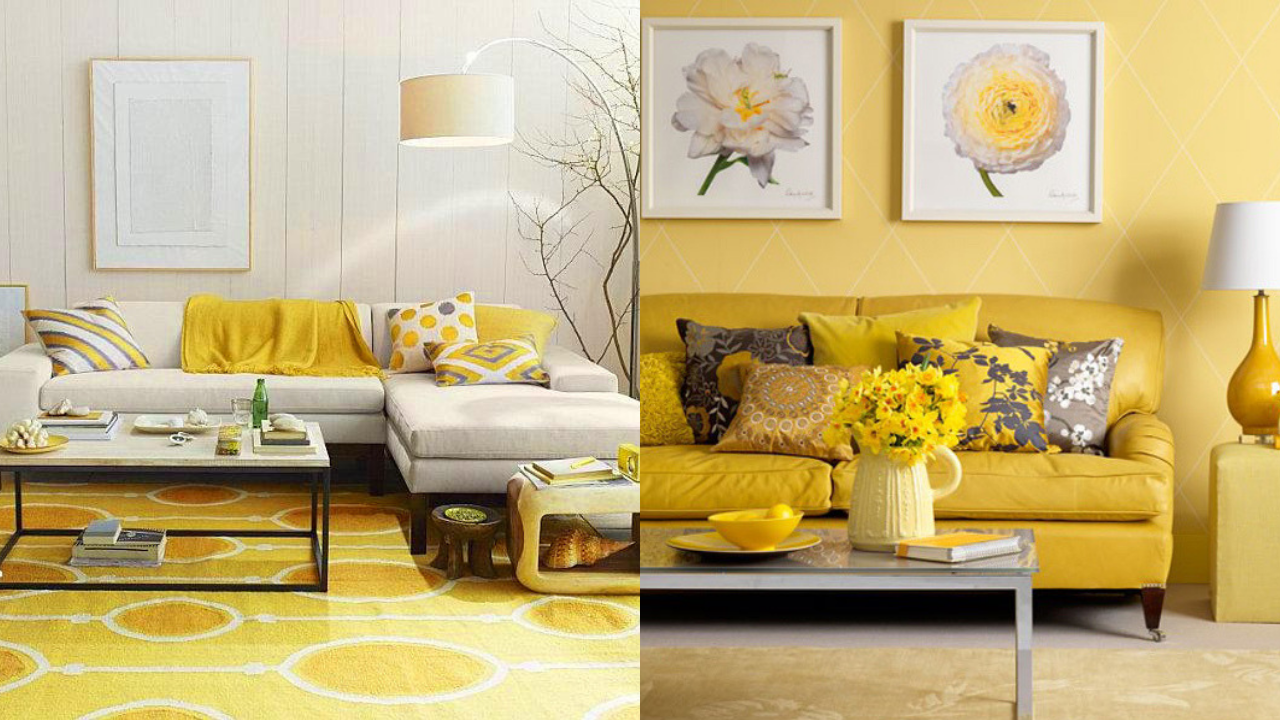Yellow Accessories in two large living areas