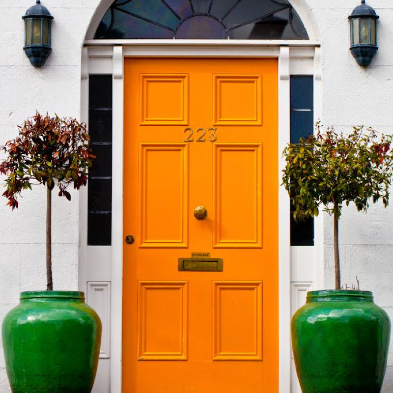 Pumpkin Spice Orange Front Door