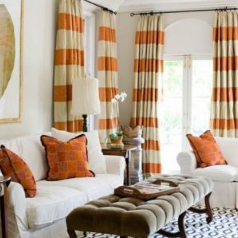 Pumpkin Spice Orange Striped Curtains