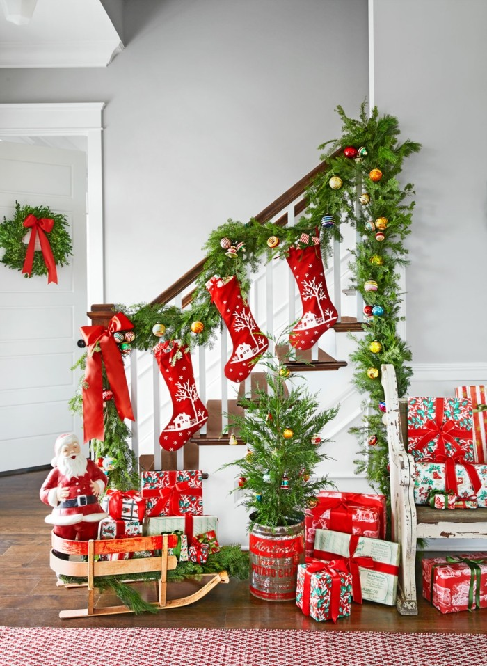 Christmas Wreath in a large hallway