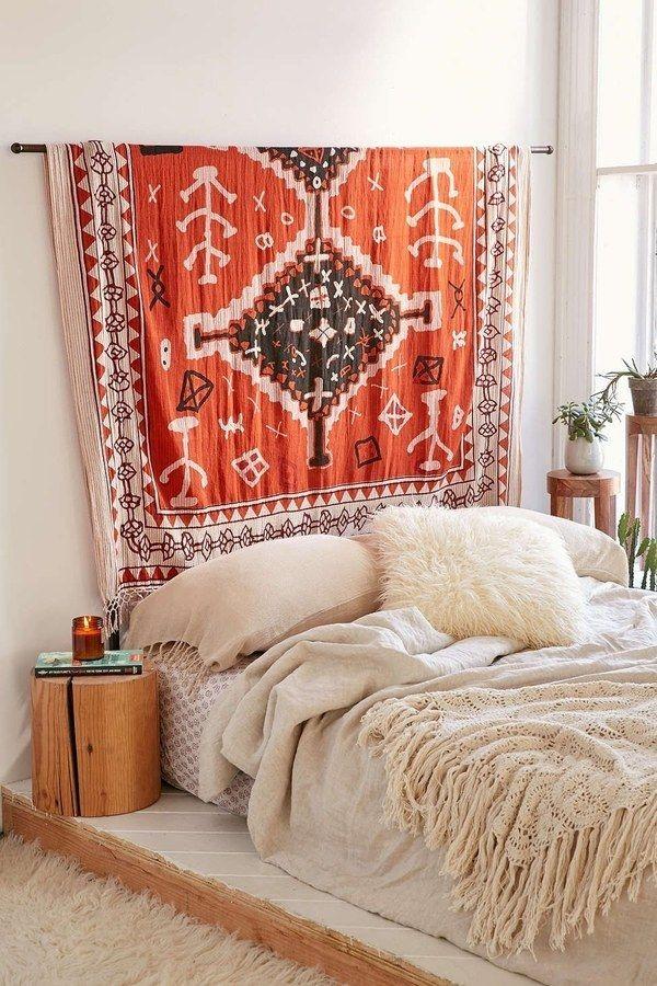 Rugs as Wall Art   Orange Bedroom Rug on a Wall