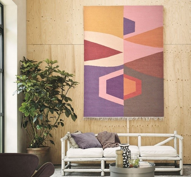 Rugs as Wall Art | Tipi Rug in Pink from The Rug Seller