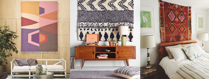 Rugs as Wall Art   Multiple Rugs on Walls in Different Rooms