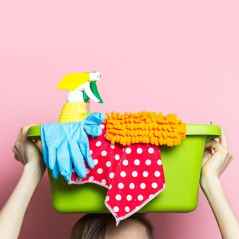 Spring Cleaning Basket of Cleaning Products