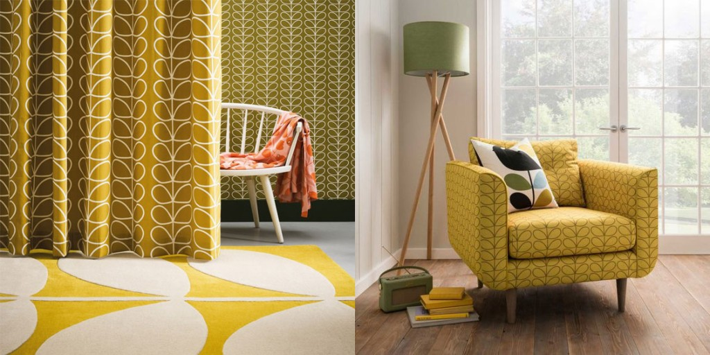 Bright Yellow interior with Orla Kiely Stem rug, armchair and curtains