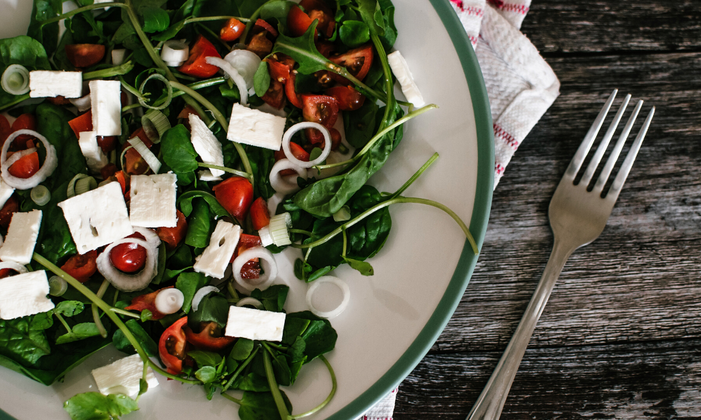 Eco-Friendly Home - A Vegetarian Meal with feta cheese, spinach and tomatos