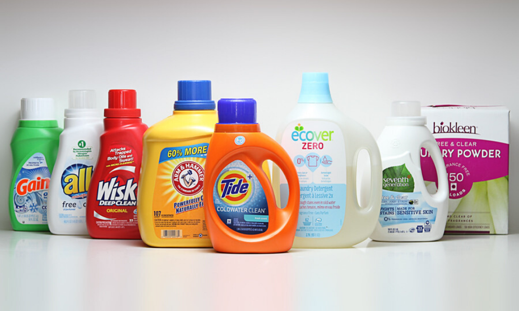 A range of washing detergents in a line