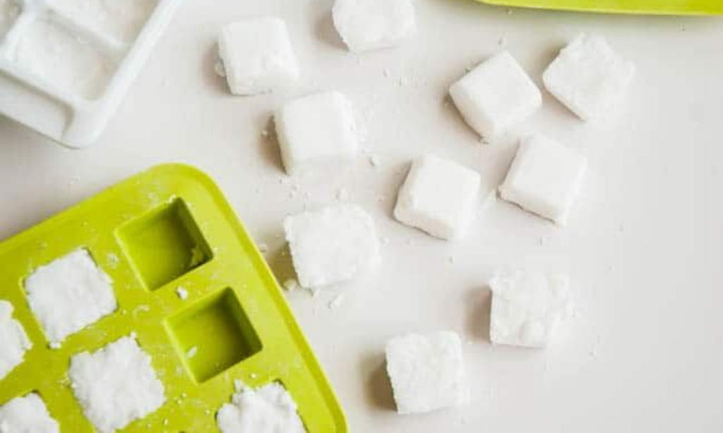 Home made laundry detergent tablets in an ice tray