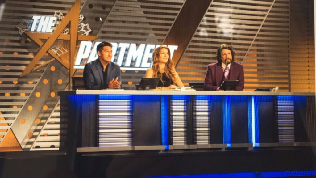 Genevieve Gorder, Jamie Durie and Laurence Llewelyn-Bowen as judges on the apartment