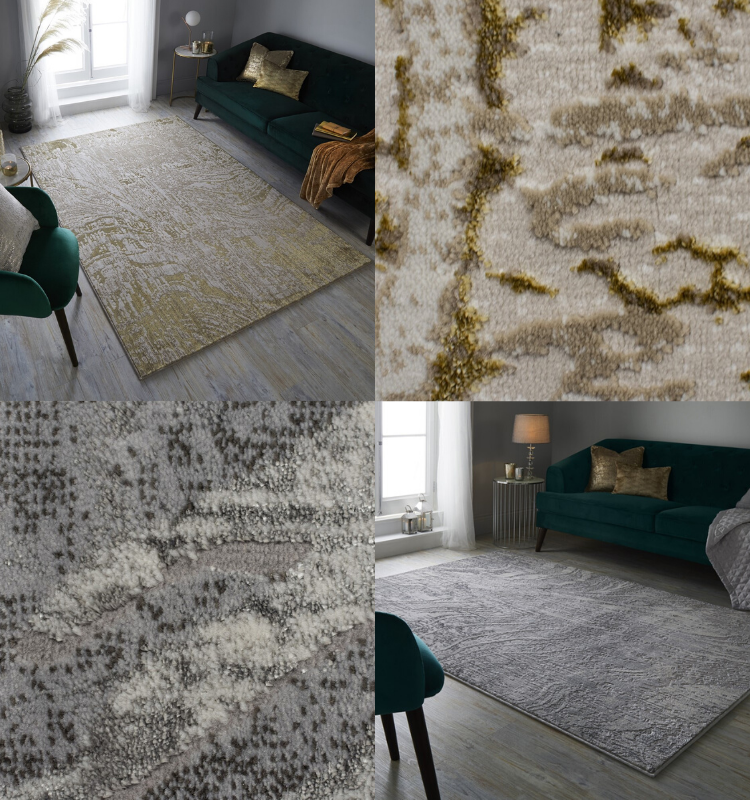 Arissa Rugs in Gold and Silver