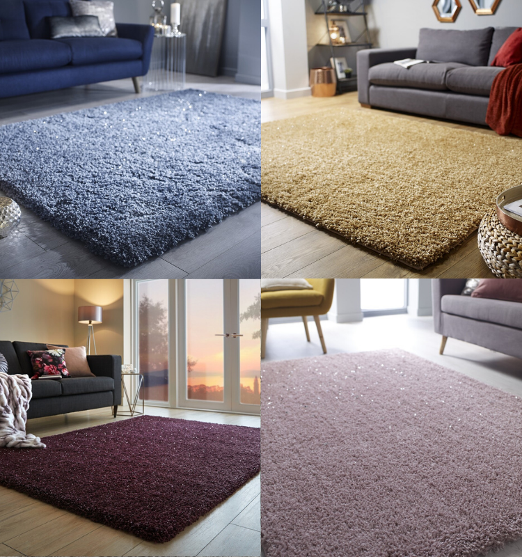 Veloce Sparkle Rugs in Blue, Yellow, Purple and Pink