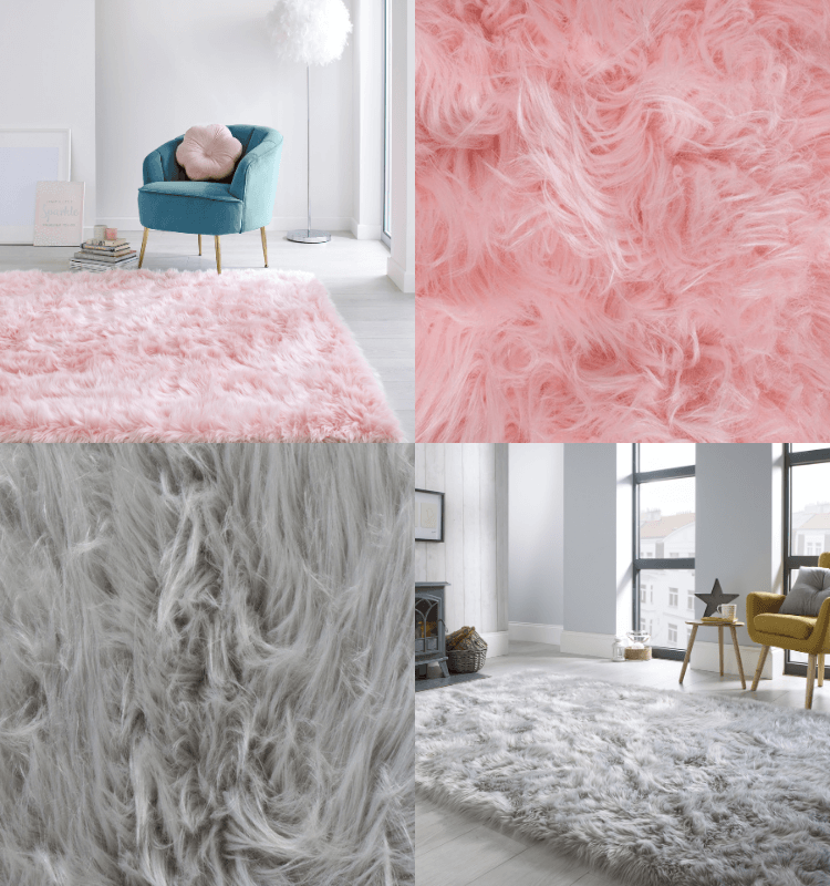 Faux Fur Sheepskin Rugs in Pink and Grey