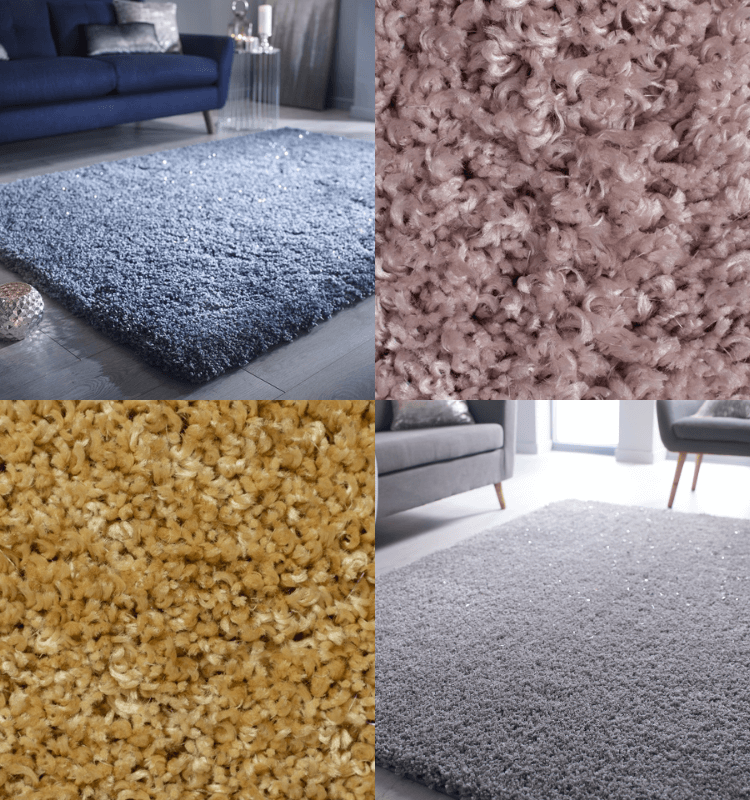 The Sparkle Mum - Veloce rugs in duck egg, pink, gold and silver