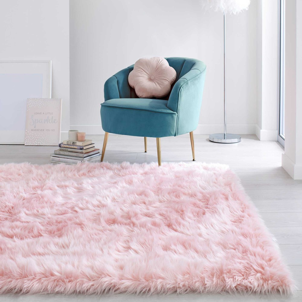 Faux Fur Sheepskin in Pink by The Rug Seller