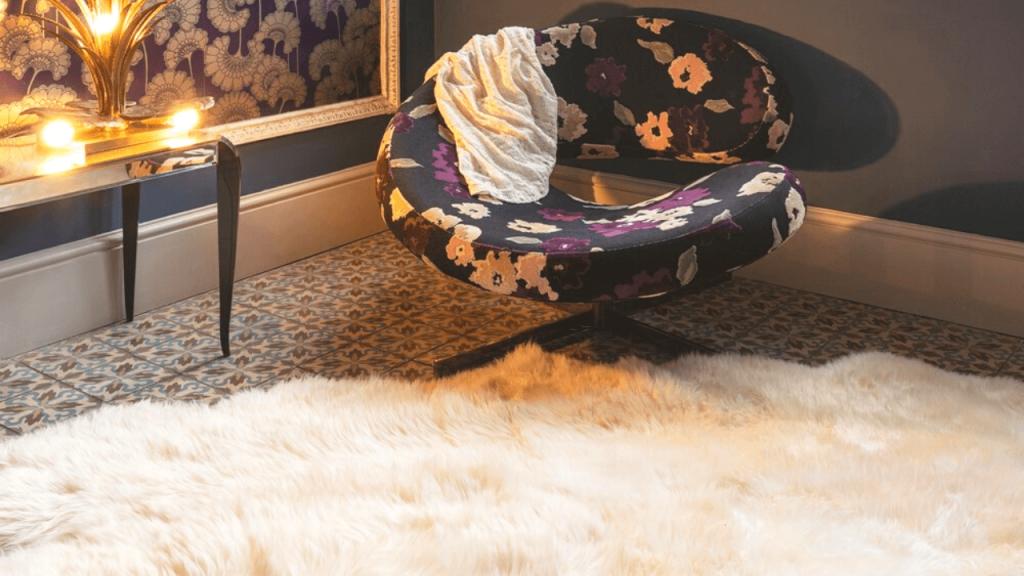 Sheepskin Fur Rug in fancy room Valetine's Day At Home