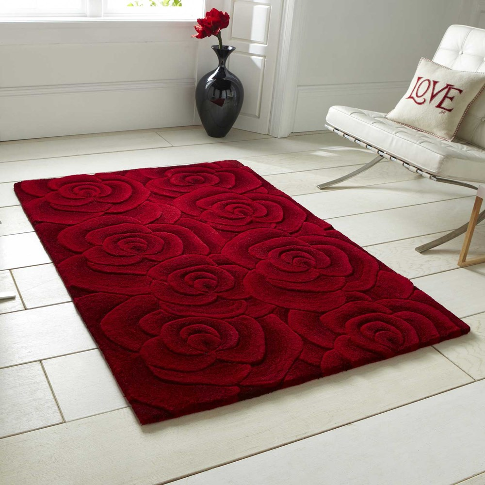 Valentine Rugs VL10 Hand Made Indian Wool in Red by The Rug Seller