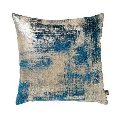 a juno abstract cushion in teal and silver as a cut out image on a white background