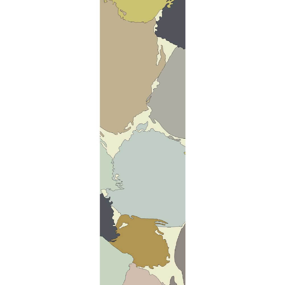 The paletto outdoor runner in an abstract paint splatter design in browns, blues and greens sits on a white background