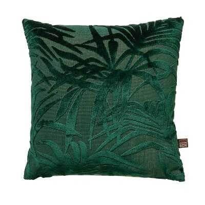 cut out image of sea green cali botanical leaf cushion