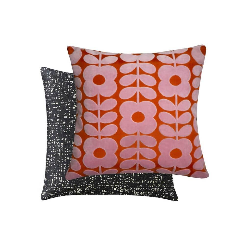 a cut out image of the orla keily paprika coloured flower stem cushion, front and back