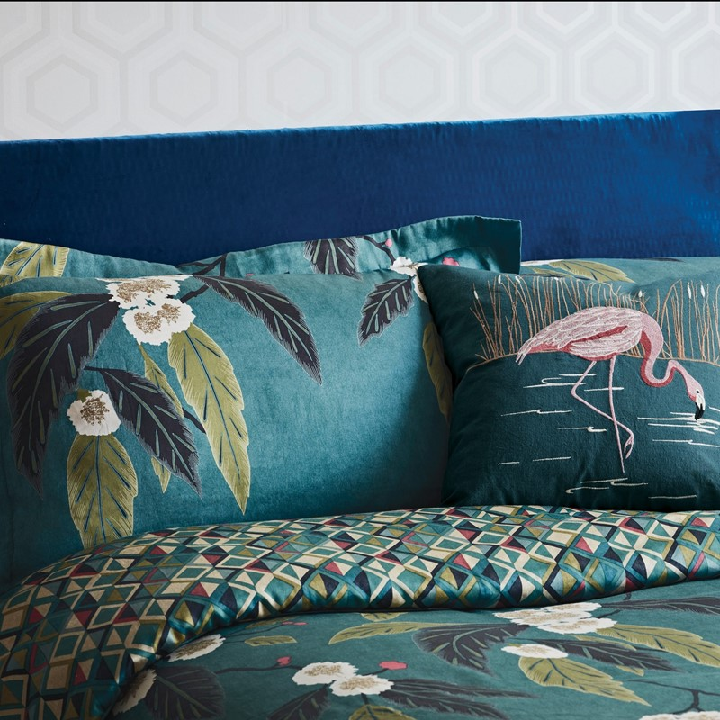 coppice peacock bedding with mix and match prints on the inverse