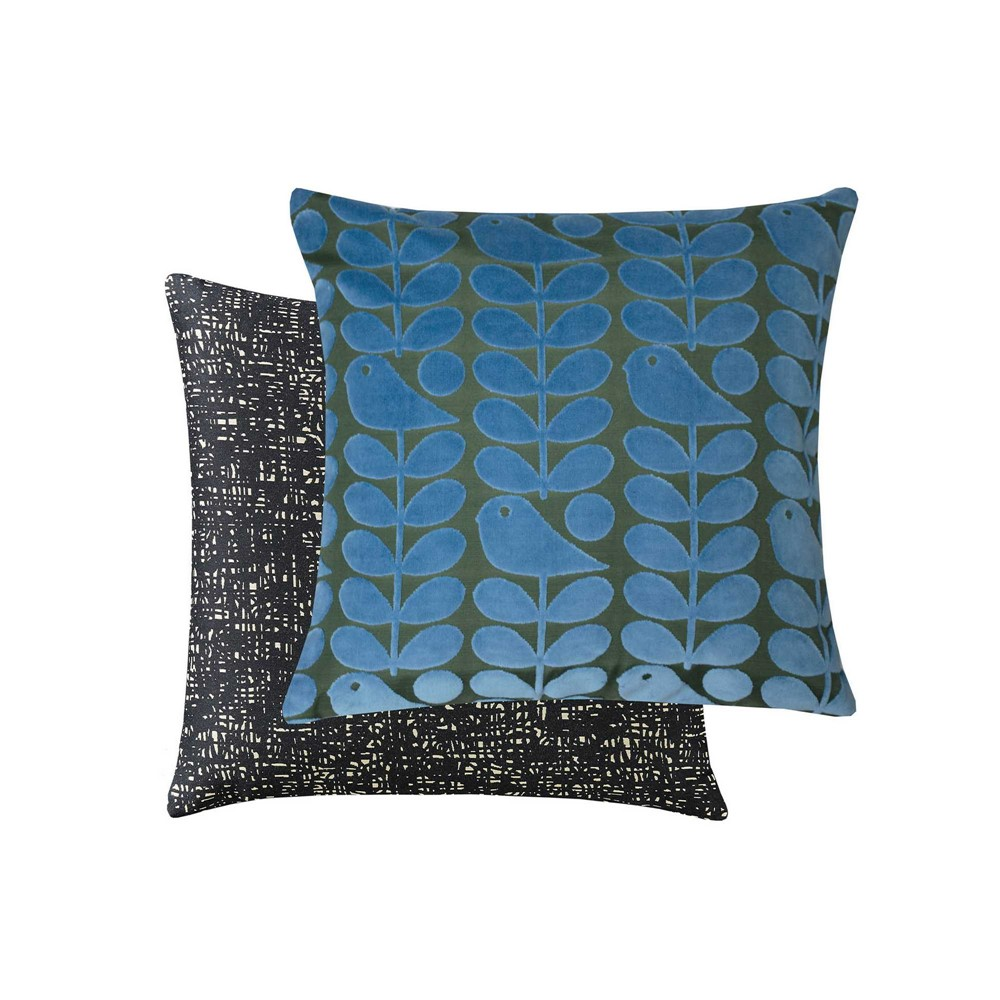 orla keily velvet early bird cushion front and back on white background