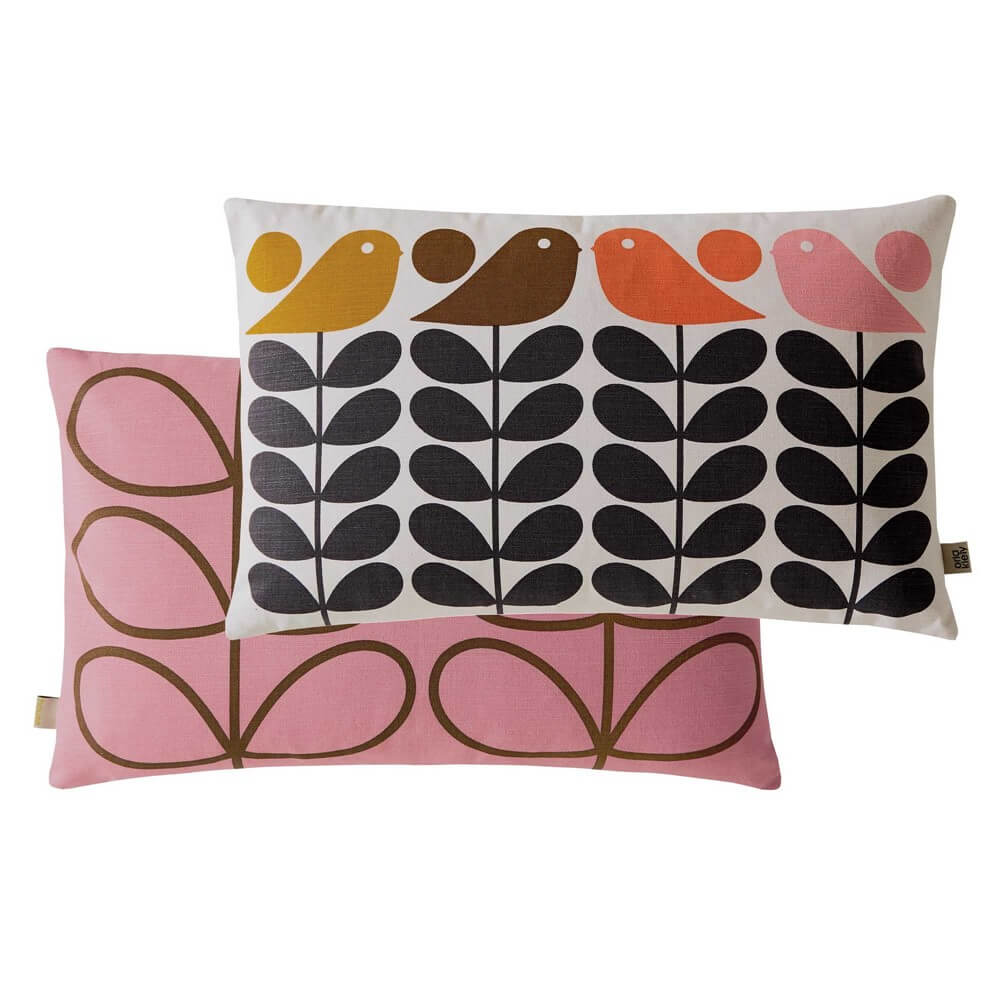 orla kiely early bird print cushion with multicolour bird deisnger prints and pink reverse on a white background