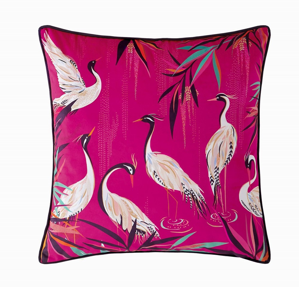 sara miller pink cushions with white heron print on white cut out background.