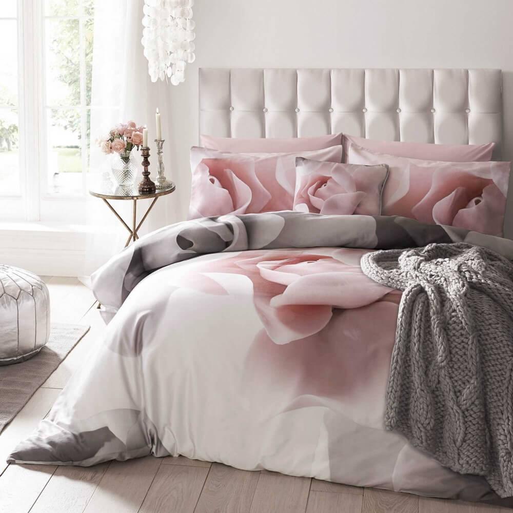 ted baker porcelain rose bedding set with grey and pink rose designer prints in a bedroom
